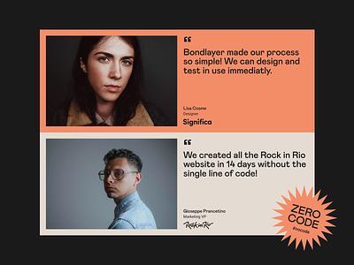 Testimonials — Bondlayer Look and Feel beige orange minimalism minimalist look and feel mabry product landing grid desktop design pastel color pastel testimonials testimonial minimal desktop