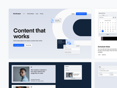 Design Hero — Bondlayer CMS product design minimalist desktop desktop design features hero image hero section clean features page clean ui cleandesign blue button navbar sections hero tags tag productdesign product