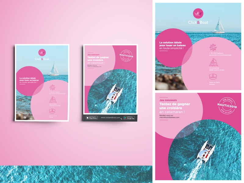 Flyer Click&Boat connection photography navigation color together brand blue brand design brandidentity geometry circle wave print ocean sea boat flyer pink branding design branding