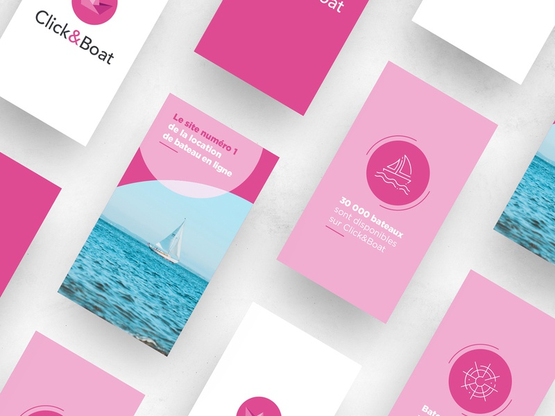 Story instagram - Click&Boat design communication brand ocean sea animation digital web 2d animation 2d story social media motion design after effects motion geometry circle branding boat