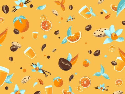 Packaging - Pattern du petit déjeuner graphic graine coffee feuille vanille orange cookie color motif graphicdesign draw morning identité visuelle packaging graphisme art illustration food patten