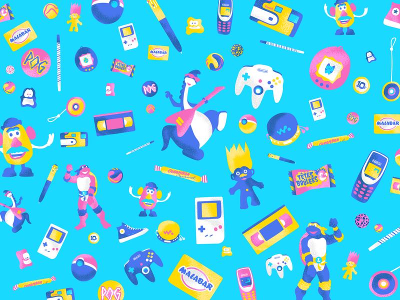 Génération 90 digitalart enfance 1990s 1990 designer graphicdesign motif draw illustration brandingdesign branding graphic child old game color fun pattern design art