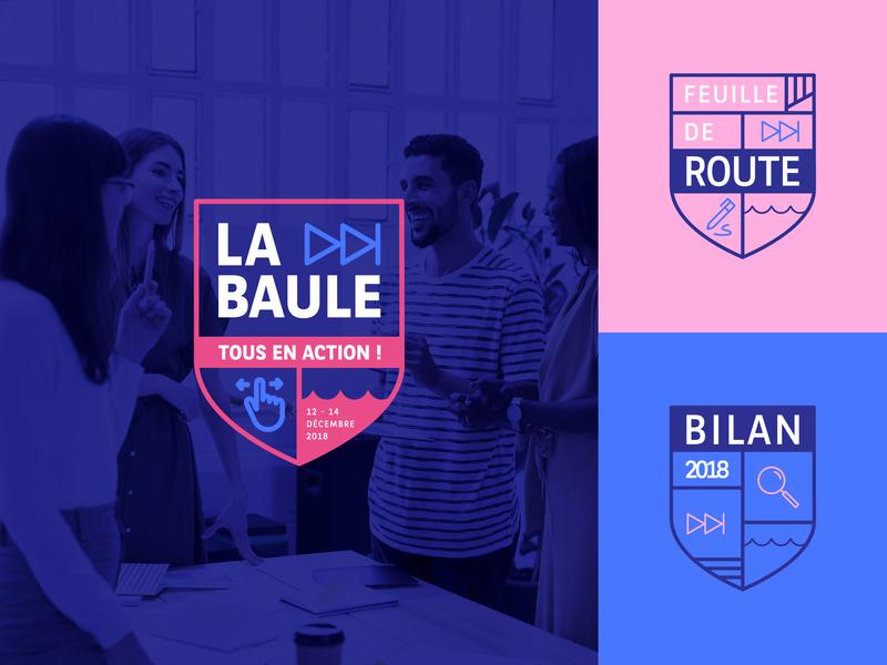 La baule - Tous en action! écusson meeting key visual graphic picto together water sea corporate action blazon blason emblème graphic design branding brand identity brand design brand event logo