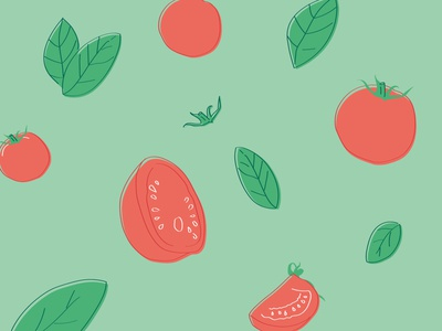 Illustration tomato & basilic branding brand creative design creative art color drawing draw design graphic food basilic tomato illustration pattern