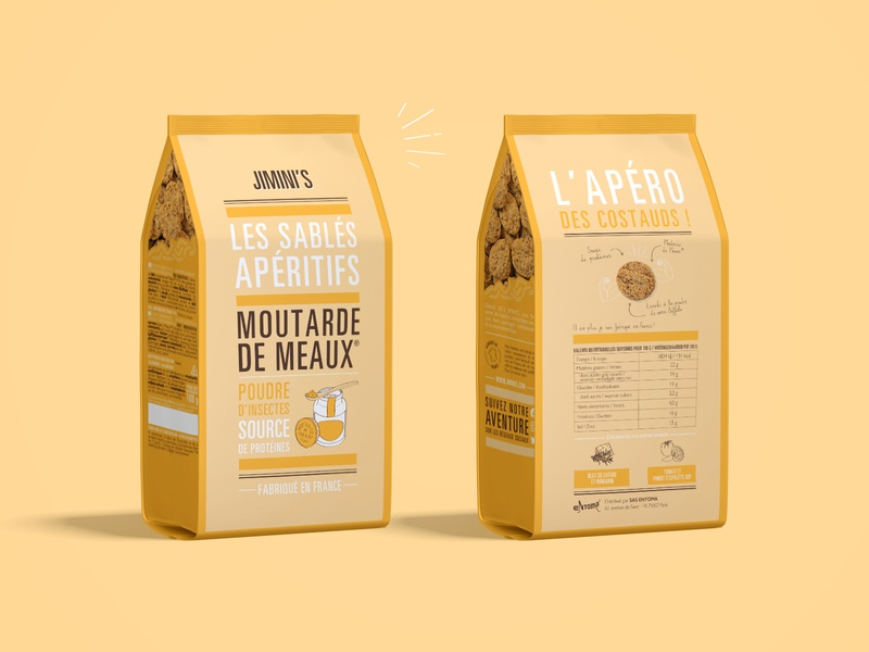 Packaging shortbreads / Meaux mustard - Jimini's sablé biscuit typography shortbread packaging insect graphism illustration food art design creative mustard branding design branding brand identity brand yellow apero apéritif