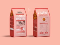 Packaging shortbreads tomato & Espelette chili pepper - Jimini's branding design red typography shortbread sablé packaging piment despelette tomato insect illustration graphism food design creative brand identity brand biscuit art apero apéritif