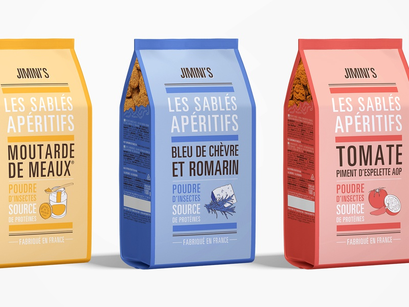 Packaging shortbreads - Jimini's graphism illustration food color typography shortbread sablé packaging insect creative design creative branding design brand identity brand biscuit art apero apéritif