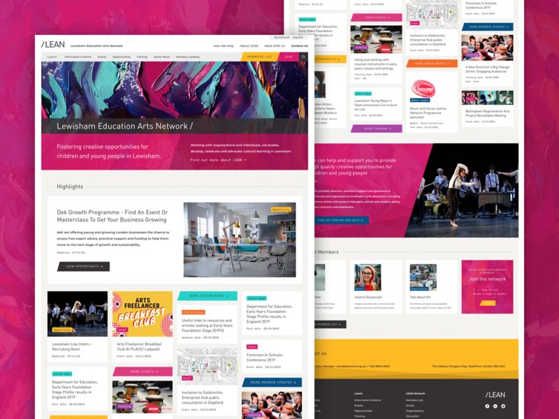 Lewisham Education Arts Homepage desktop web design website web homepage pink charity arts ui