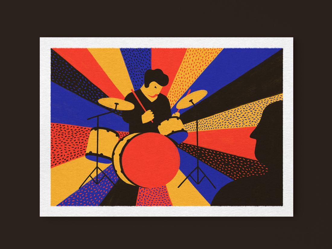 Whiplash jazz drums whiplash postcards movies cinema design colorful illustration