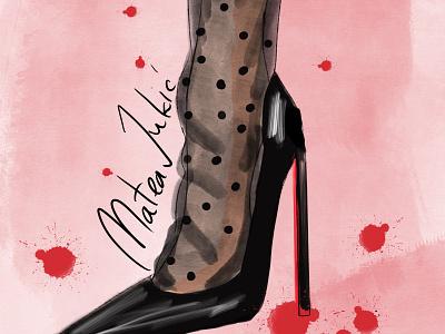Louboutin shoe handskech procreate fashionillustration fashion louboutin