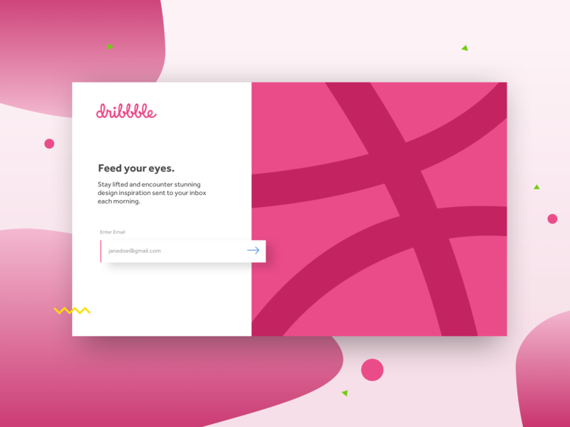 Dribbble Email Capture confetti blobs vector web branding subscription box subscribe form newsletter email blast modal pop up banner email form ui  ux design ui thank you first post dribbble subscribe email capture