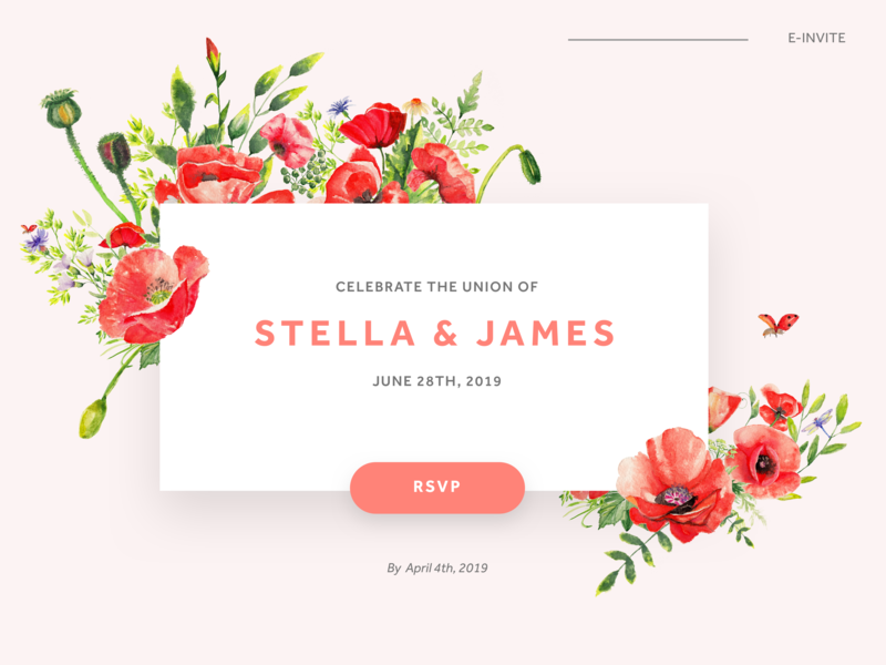 Floral Theme Wedding E Invite By Christina Zouras Dribbble Dribbble