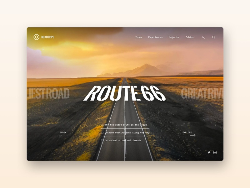 Roadtrips Landing Page tourism travel roadtrip typography practice uxdesign uidesign 2020 ideas concept design