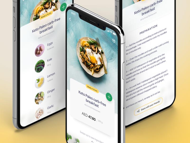 Recipe Details - App Design blue ingredient ingredients friends share yummy foodapp food recipes recipe exploration uiux app appdesign 2020 ux uidesign ui dubai design