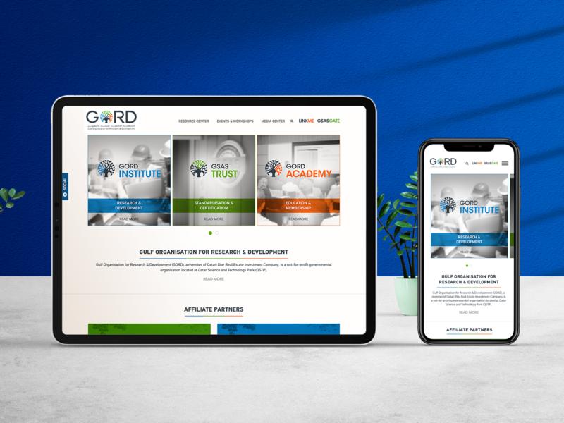 Gulf Organization for Research & Development   GORD academy trust institute learning brandnew website gcc realestate initiative green qatar dubai design