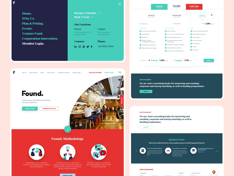 Web design for a Singapore Company pricing fullscreen coworking space colorful white whitespace minimal clean singapore uae uidesign website 2017 web design ux client work design