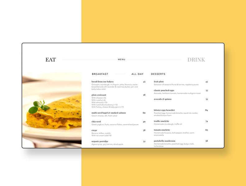 Online Menu Design for a Restaurant dubai responsive webdesign web design website design digital menu digital food menu food menu ui client work 2018 design