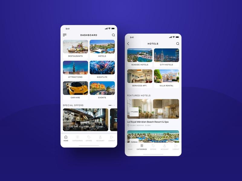 Luxury Services Dubai events car nightlife attractions restaurants hotels services luxury clean app design app uae 2019 2016 ux uidesign client work ui dubai design