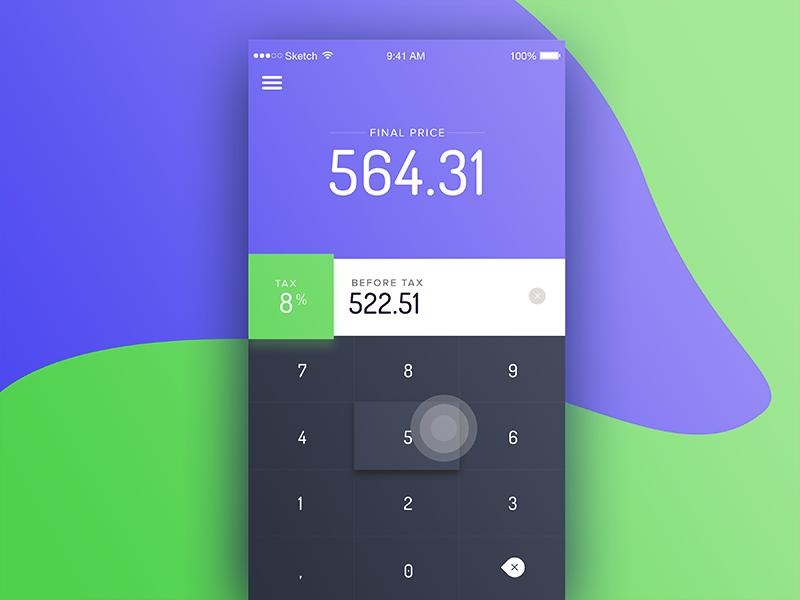 Calculator dailyui interface ui input modern numbers colors colorful calculator