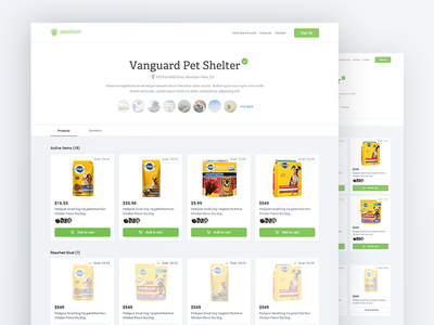 Shelter Project responsive web design material design products list charity shelter pets