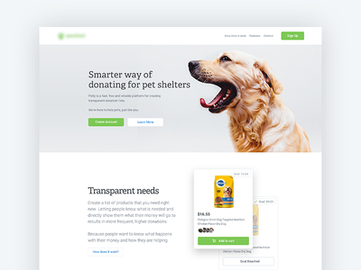 Shelter Project - Landing Page landing landing page pets shelter charity list products material design design web responsive