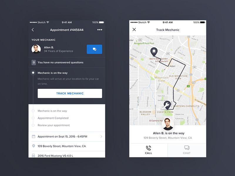 YourMechanic - iOS Appointment Details list invoice appointment page order dashboard receipt app ios