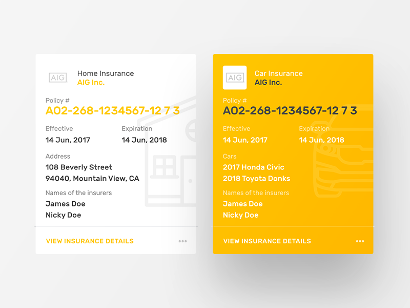 Jerry MVP - Insurance Card cards web mobile interface ux ui card jerry