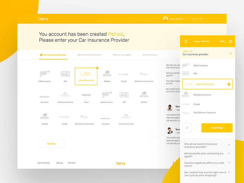 Jerry MVP - Funnel web design responsive interface ux ui native forms ios android react app funnel