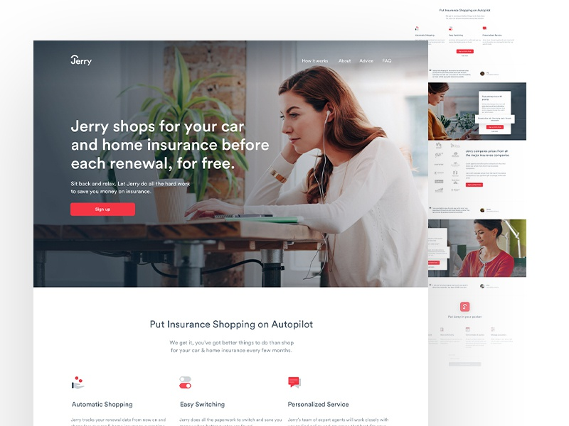 Jerry - Landing Page landing page hero insurance typography ui ux interface user interface user experience sections