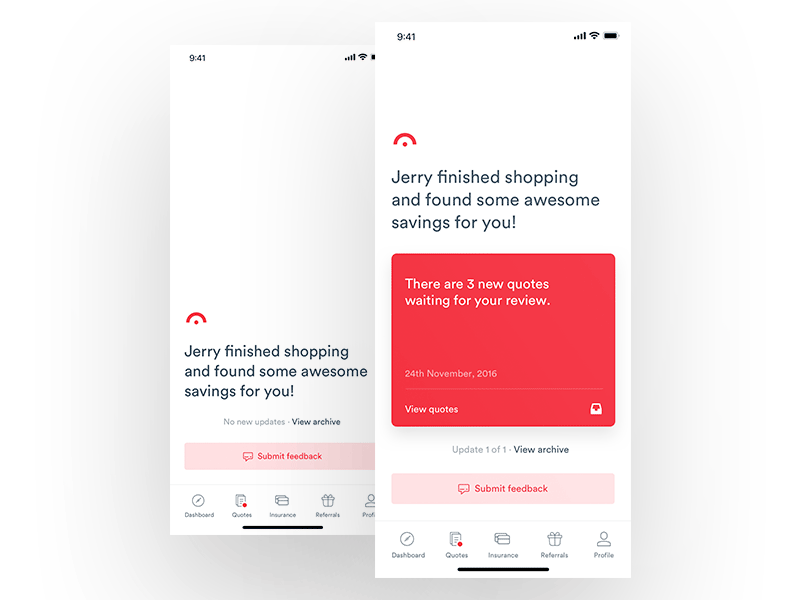 Jerry App - Notifications user interface user experience ux ui clean cards signup notifications dashboard
