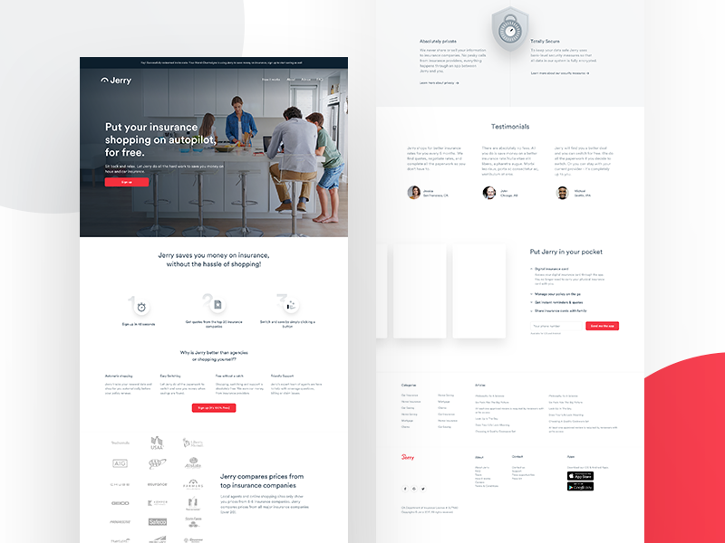 Jerry - Landing Iteration app landing user interface user experience ux ui landing page