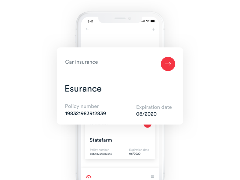 Jerry App - Insurance Card V2 minimal react material ios typography application android clean mobile dashboard design interface app ux ui