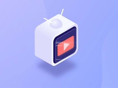 YouTube TV Isometric Illustration
