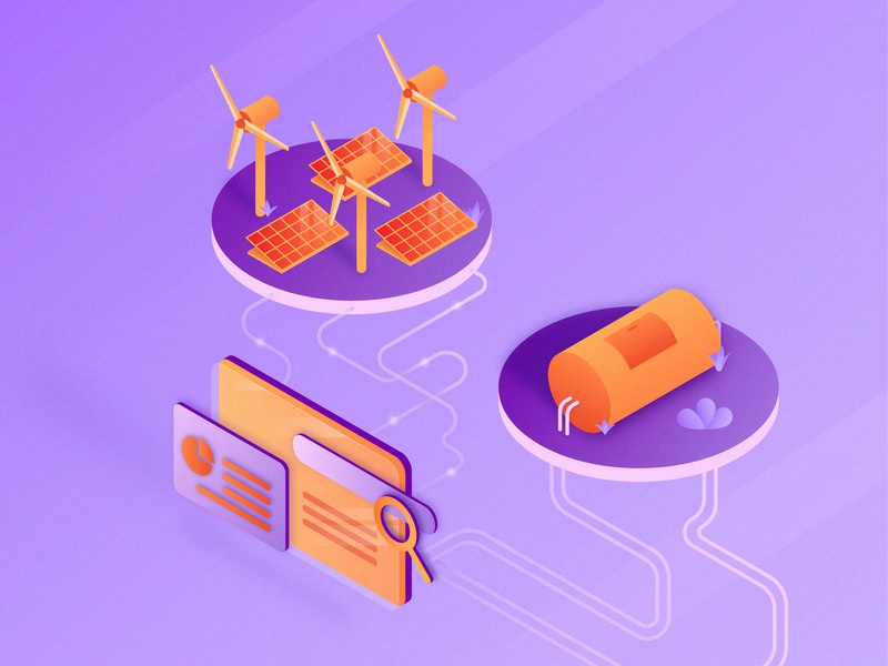 SEO for Electricity and Natural Gas Isometric Illustration plants windmill solar panel gas tank website search search terms isometric isometric design isometric illustration seo terms electricity natural gas gas seo