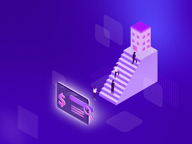 Paid Search Equals Added Value Isometric Illustration building design building texture background money screen people illustration isometric stairs customers people company value added search paid