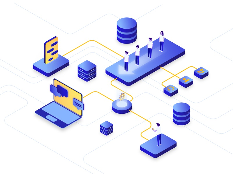 Customer Experience Isometric Illustration electricity connected computer phone technology tech yellow blue people cx slump cx illustration isometric illustration isometric experience customer