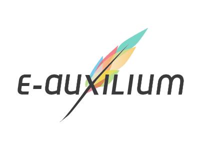 E-Auxilium logo feather plume writing digital