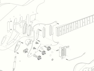 Fender Stratocaster Model Exploded view