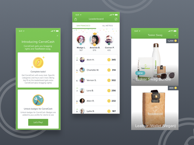 CarrotCash   Leaderboard mobile animation leaderboard blockchain coin mobile app identity typography application logo app design ux design app illustration ui flat branding