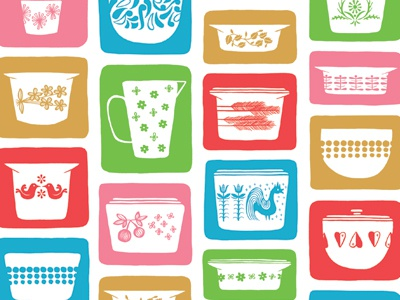 Vintage Pyrex Pattern By Emily Balsley Dribbble Dribbble Unique Rare Pyrex Patterns