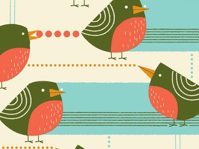 Robins in the Snow  pattern illustration bird robin