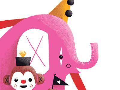 Elephant and Monkey illustration character monkey circus clown elephant