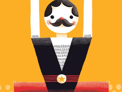 Strongman illustration character circus strongman
