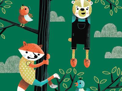 Go climb a tree! illustration character fox badger tree
