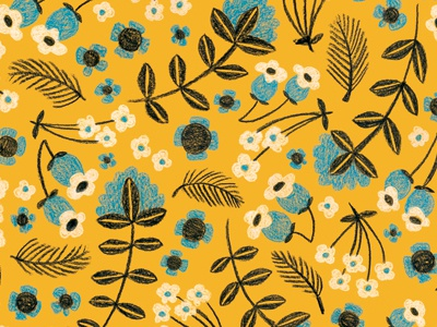 Folksy Floral - Yellow illustration pattern floral colored pencil