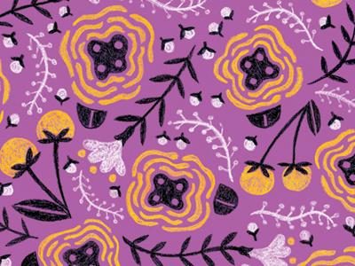 Purple Folksy Floral illustration pattern floral colored pencil
