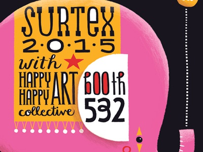 Surtex Elephant illustration character circus elephant type