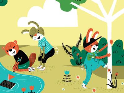 Play Outside! illustration character bunny beaver