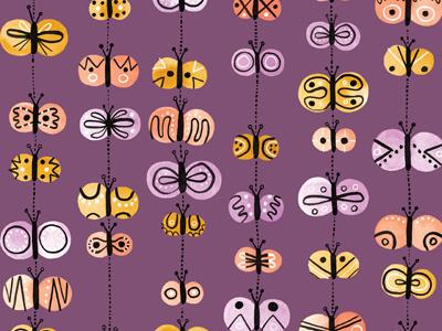 Painted Butterflies gouache butterflies pattern illustration