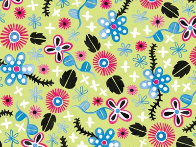 Painted Flowers gouache floral pattern illustration